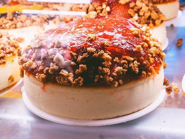 Strawberry Cheesecake at Junior's Restaurant & Cheesecake in Brooklyn, a famous restaurant in New York City!