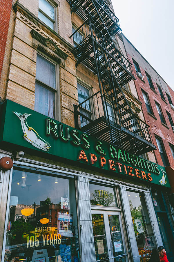Exterior of Russ & Daughters, an iconic cafe on the Lower East Side of Manhattan