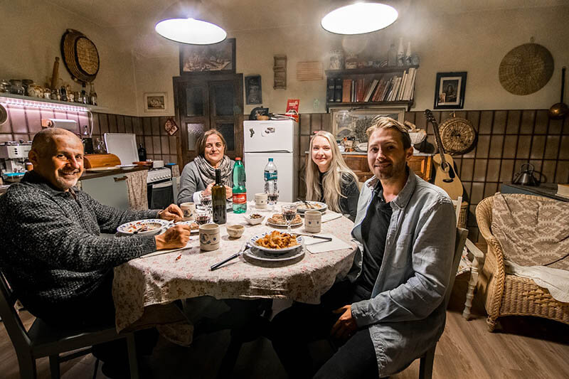 Man enjoying a homestay with locals in Italy!