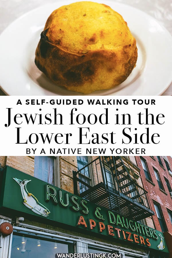 Love bagels? Interested in trying out Jewish food in New York City?  Follow this self-guided foodie walking tour of the Lower East Side in Manhattan with different Jewish bakeries and cafes that you can't miss!