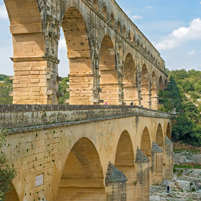 Beautiful Roman aqueduct in the South of France