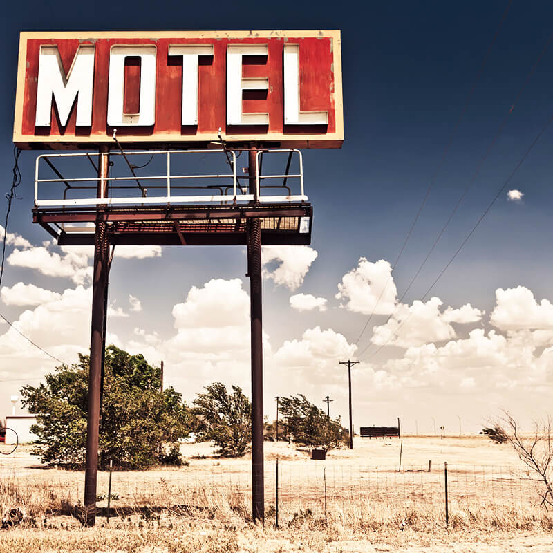 Typical Motel Sign along American highway during a road trip through the United States