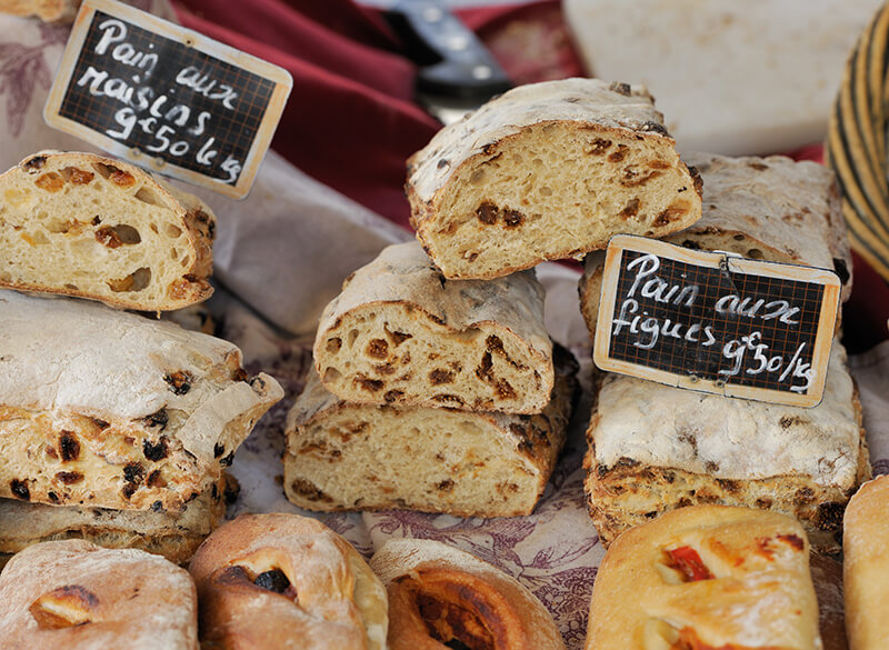 Traditional French bread at the Aix-en-Provence market