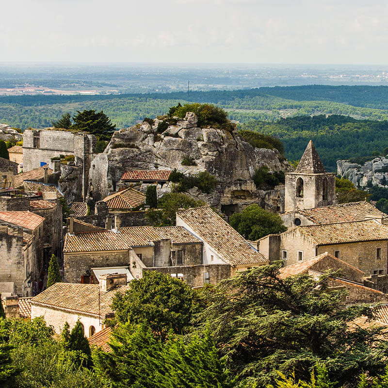 Stunning hilltop French village in Provence with stone and traditional houses in Les Baux de Provence