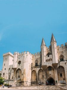 Palace of the Popes in Avignon, France with beautiful blue sky