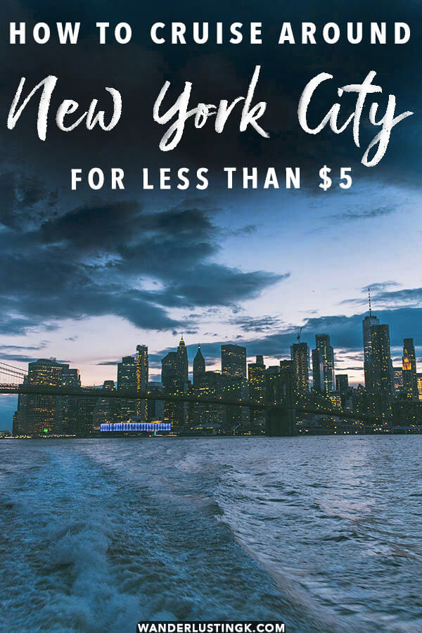 Dreaming of seeing New York City's skyline by boat? Read insider tips by a New Yorker on how to see the entirety of Manhattan skyline by boat for less than $5! You won't want to miss this guide to New York's most scenic ferries! #NYC #Newyorkcity# NYC #Manhattan