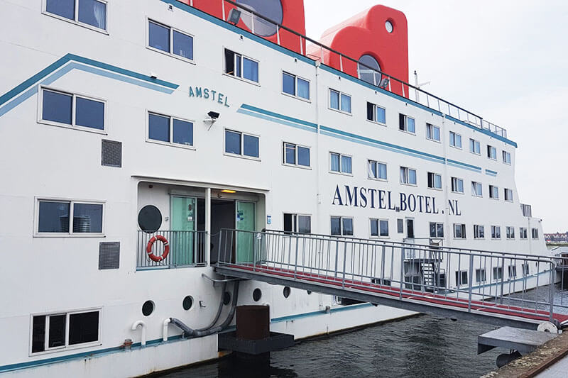 Exterior of Amstel Botel, an affordable hotel in Amsterdam