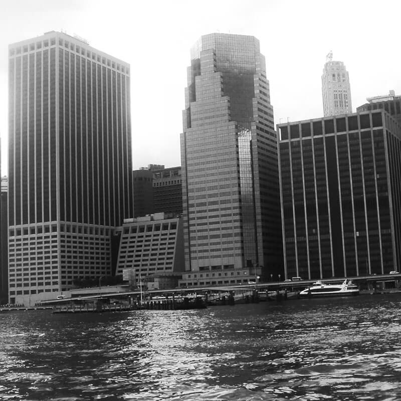 New York skyline seen from the water from an architecture cruise of New York, an unusual thing that you can do in NYC!