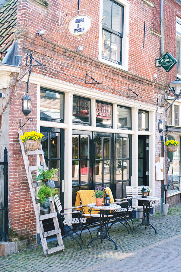 Picturesque front of a restaurant in Enkhuizen, the Netherlands