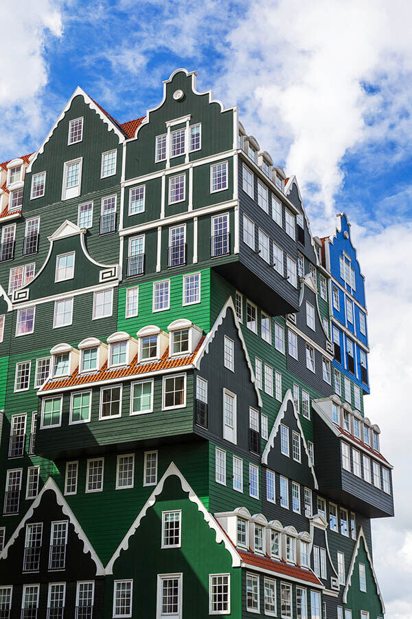 A beautiful affordable design hotel outside of Amsterdam with traditional Dutch designs