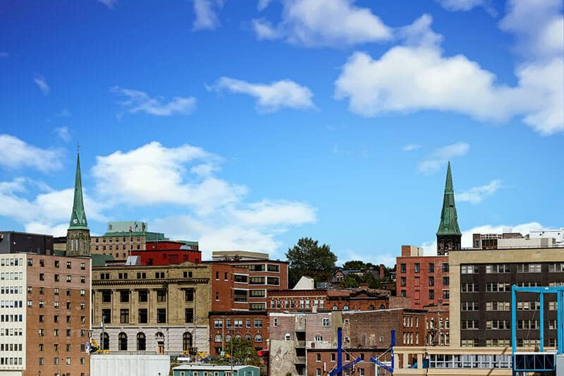 Towers of church towers in Saint John in New Brunswick, Canada