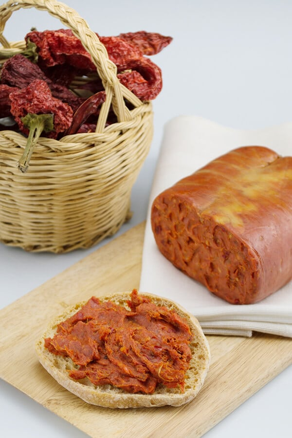 Nduja, a traditional spicy spread from Calabria with chili peppers
