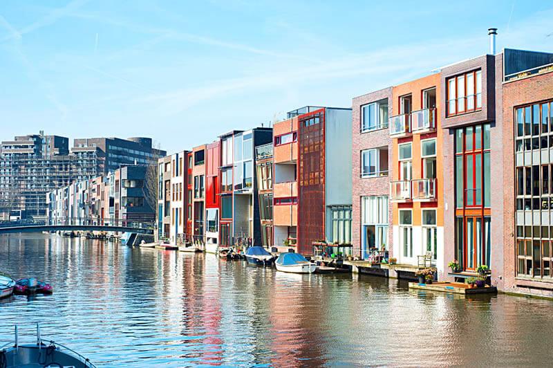 Colorful canals of Zeeburg, a neighborhood of Amsterdam