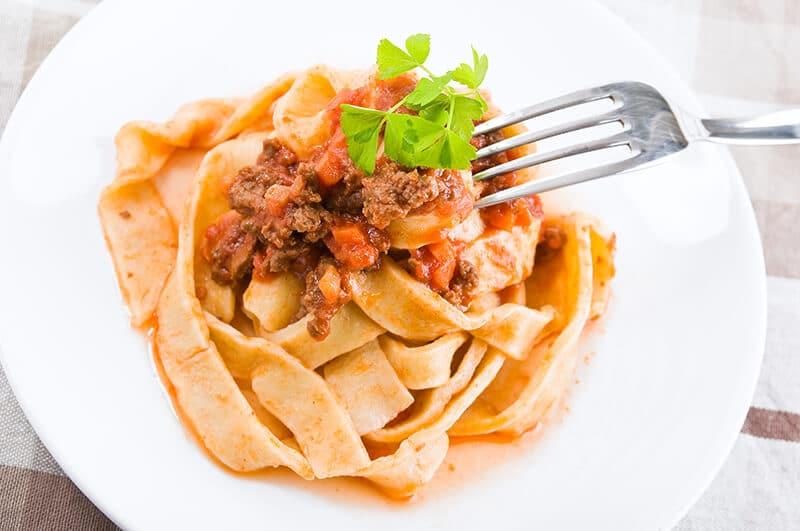 Tagliatelle alla Bolognese in Bologna, a famous Italian dish from Emilia Romagna