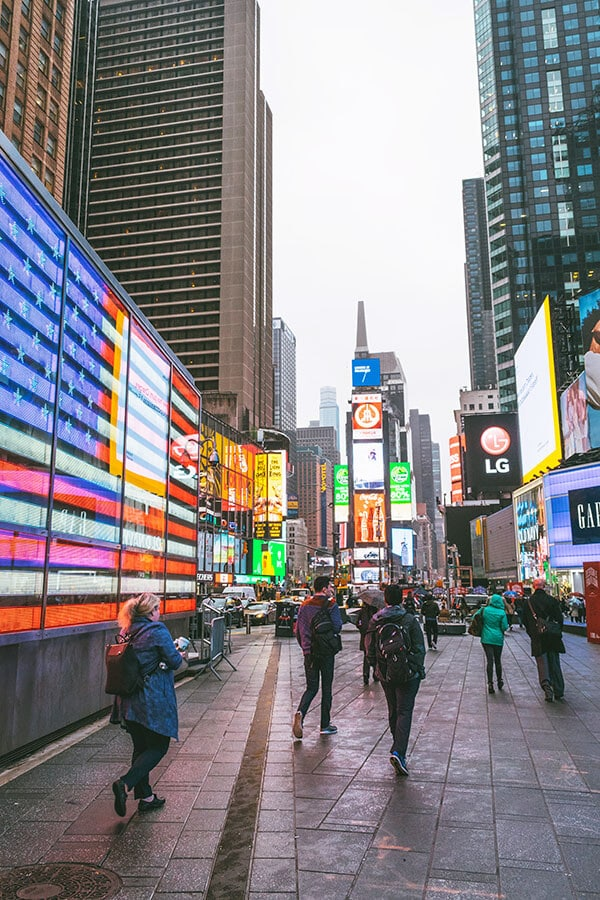 Classic photo of Times Square in New York City including the neon American flag!