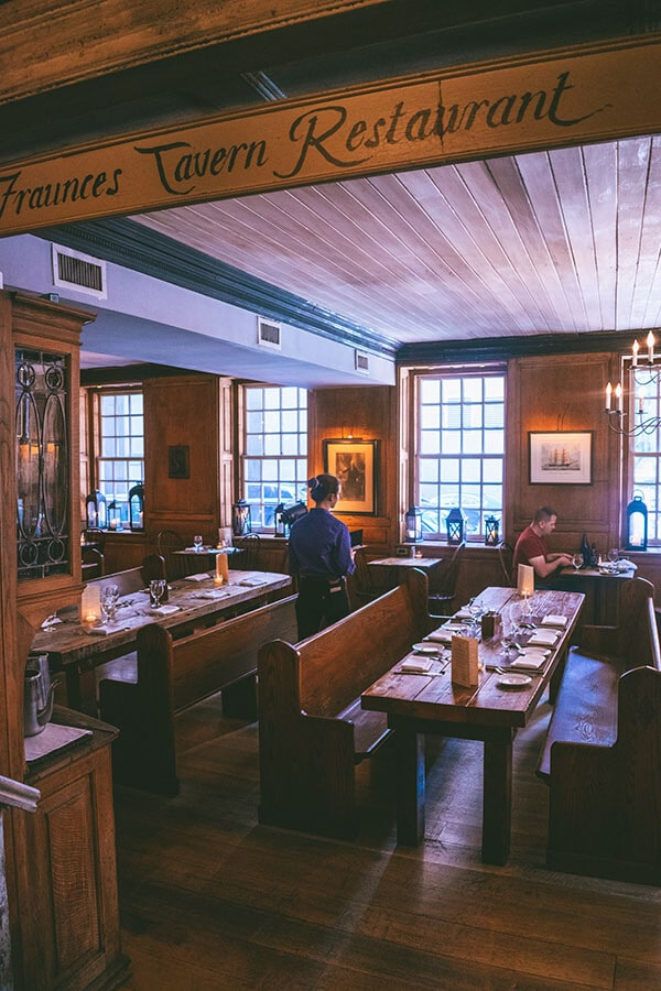 Fraunces Tavern, the spot where the Boston Tea Party was planned, is a historic restaurant in New York