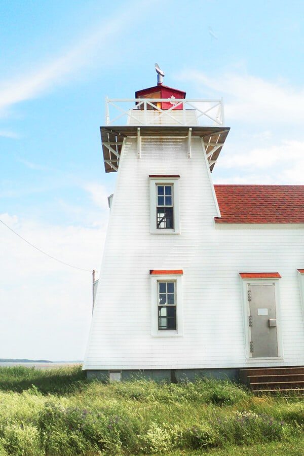 Beautiful white lighthouse on Prince Edward Island in Canada