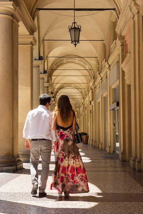 Couple on their honeymoon in Bologna, Italy