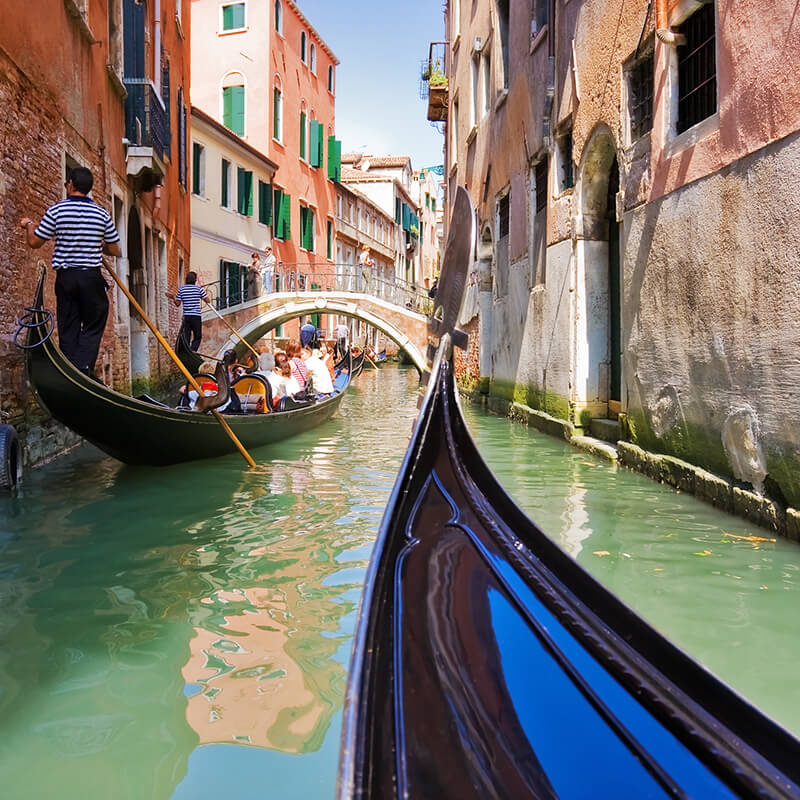 Gondola ride in Venice seen during a honeymoon in Italy!