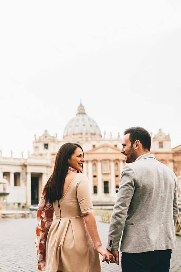 Newly married couple enjoying a visit to the Vatican during their honeymoon to Rome!
