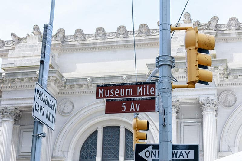 Museum Mile sign near the Met Museum in New York!