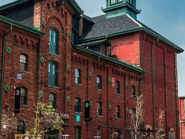 Stunning exterior of the Distillery District in Toronto, Canada, one of the coolest parts of Toronto to visit!