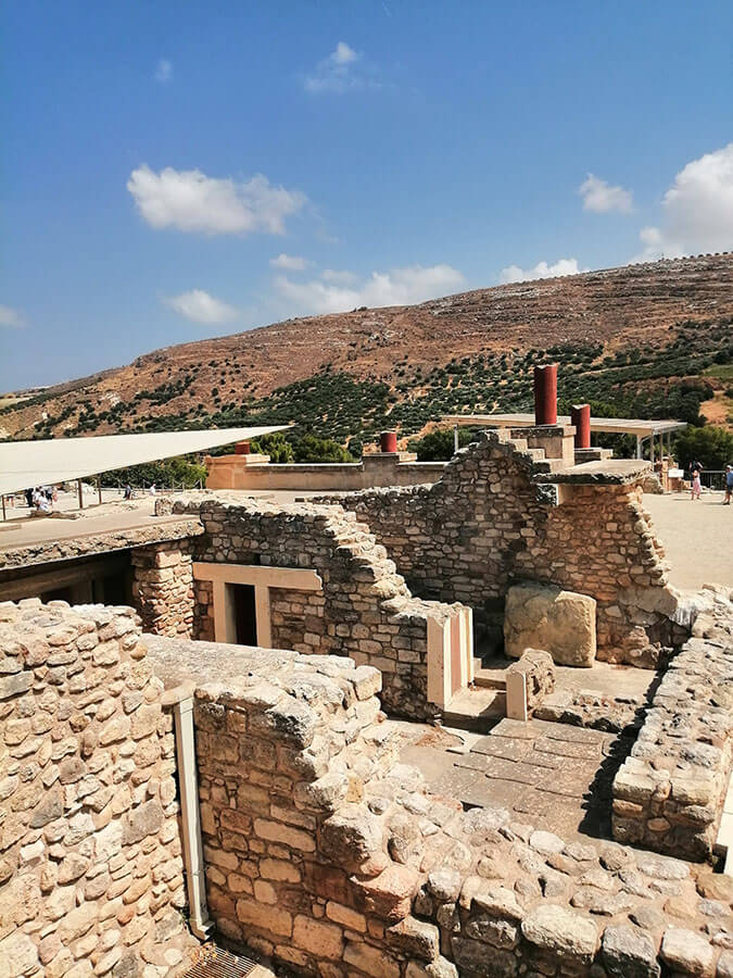 Palace of Knossos, one of the must-sees of Crete, Greece on a sunny day!