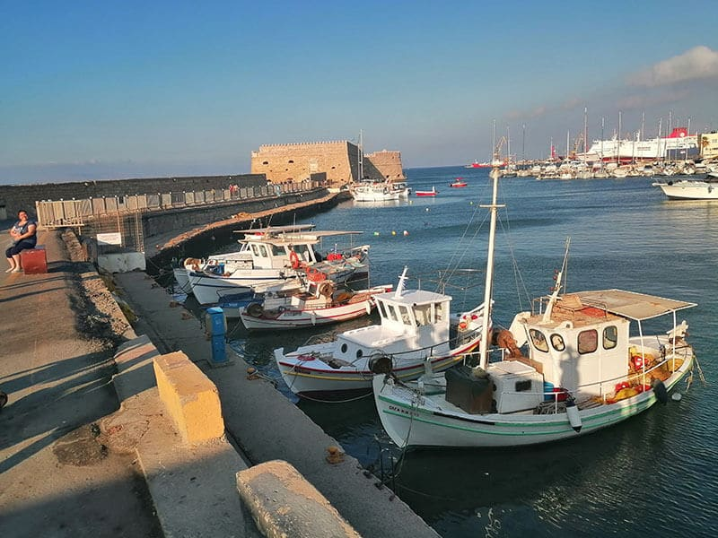 Old Venetian Port of Heraklion with ships
