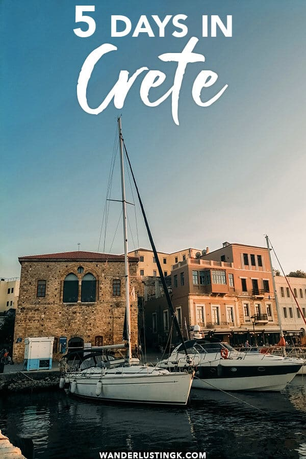 Your perfect itinerary for seeing the best of Crete without a car including a five day day-by-day itinerary for Crete, including the Palace of Knossos, Heraklion, Chania, and Rethymno.