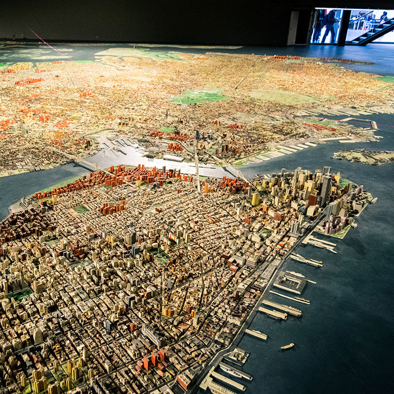 Panorama of the city of New York within the Queens Museum in New York