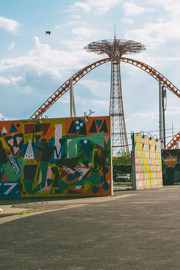 Coney Island Walls with street art in Coney Island, New York