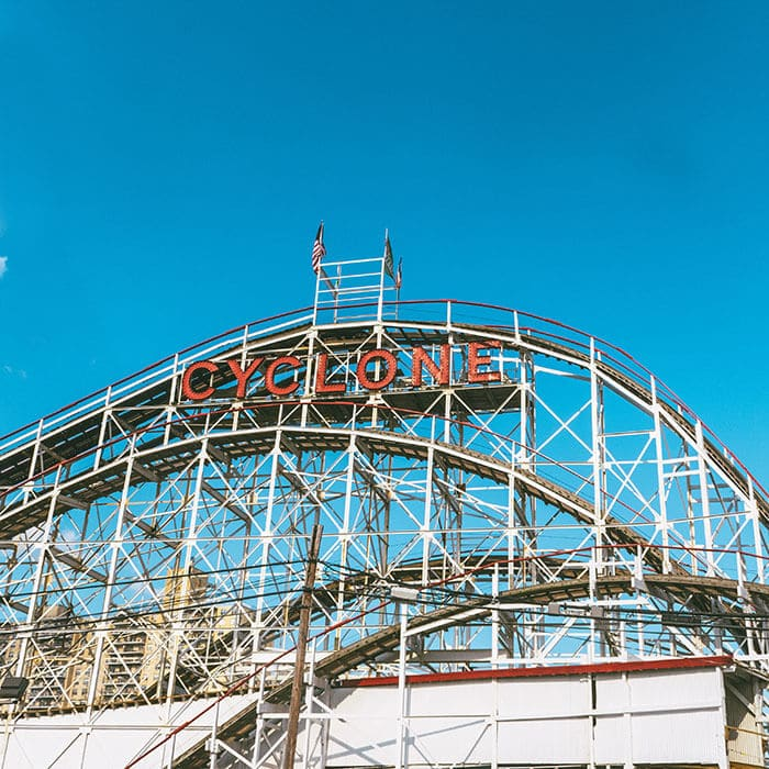 View of the Cyclone, New York's oldest roller coaster in Coney Island, New York City