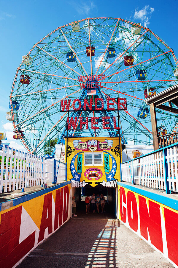 Wonder Wheel ride in Coney Island, Brooklyn, New York.