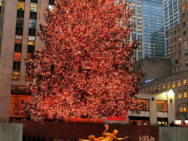 Rockefeller Center Christmas Tree during December in New York City decorated for Christmas!