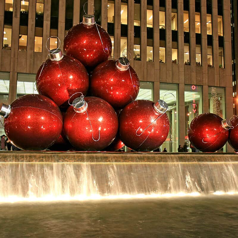 Giant Christmas decorations in New York City for the Christmas Season