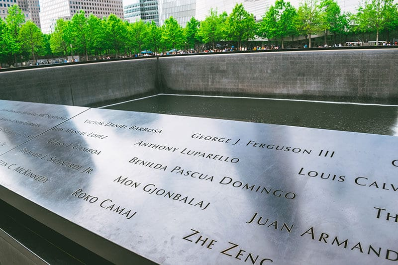 9/11 Memorial with names