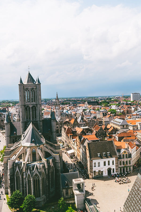 View of Ghent, Belgium from the Belfry of Ghent, one of the best attractions to visit in Gent