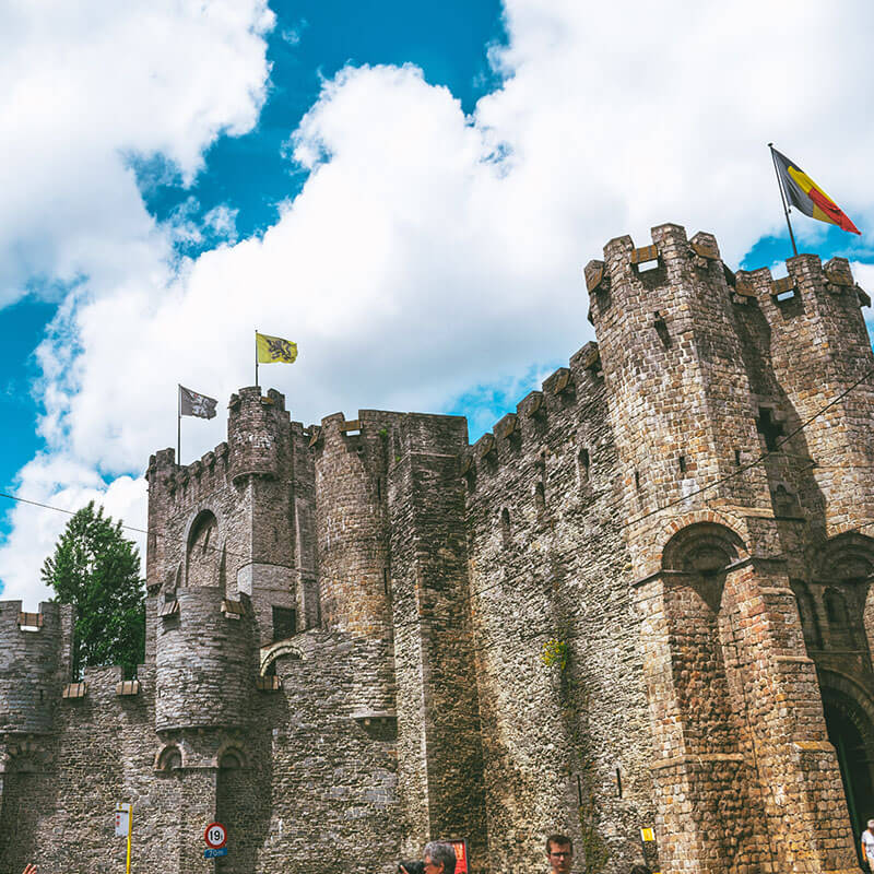 Exterior of the medieval castle Gravensteen in Gent, Belgium on a sunny day