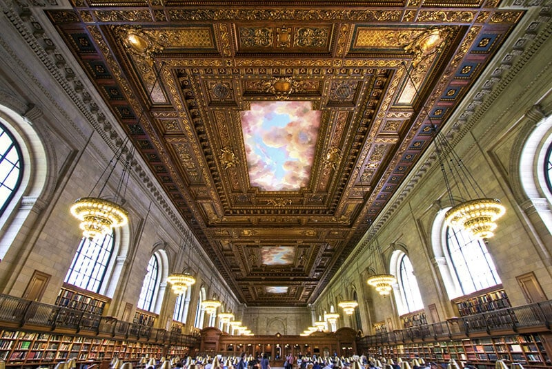 Beautiful view of New York City Central Library's famous reading room!