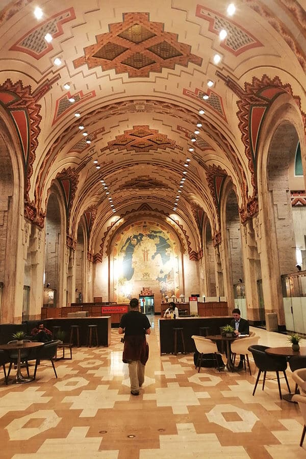 Beautiful art deco interior of the Guardian Building in downtown Detroit, one of the highlights of Detroit.