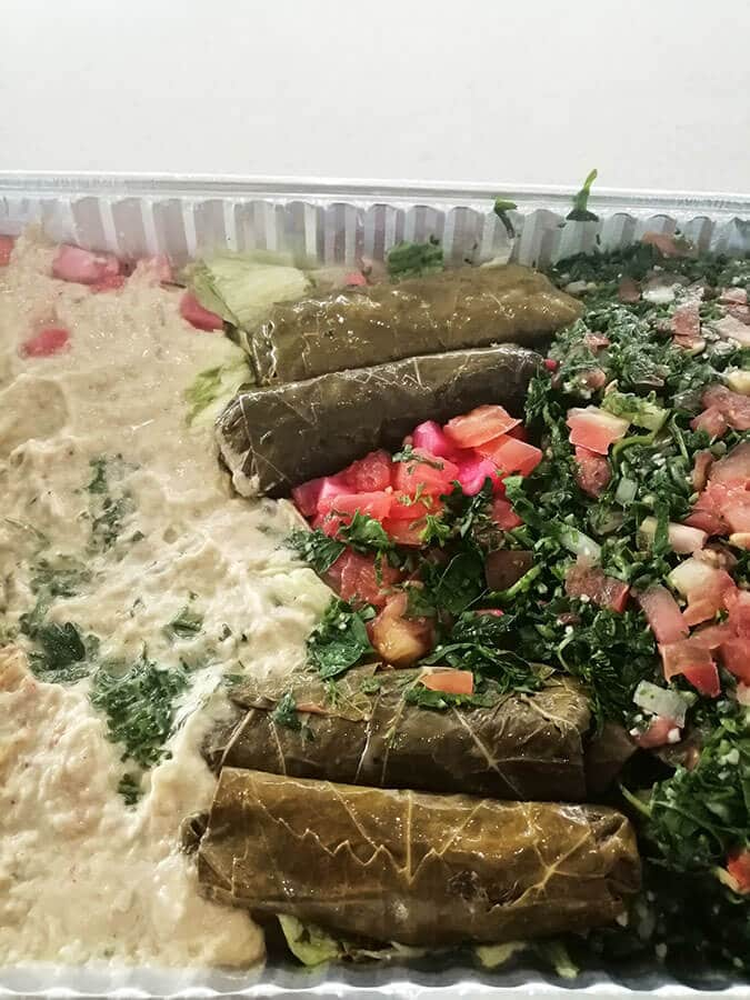 Delicious Lebanese food platter from Deerborn, Michigan. This diverse suburb of Detroit is a must-see for foodies!