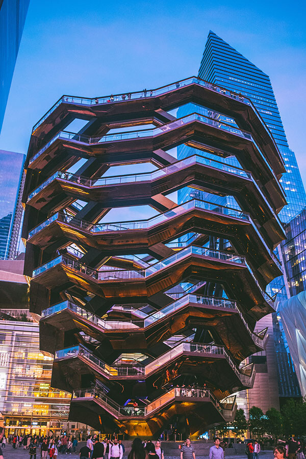 The Vessel, one of New York's best free attractions, seen around sunset
