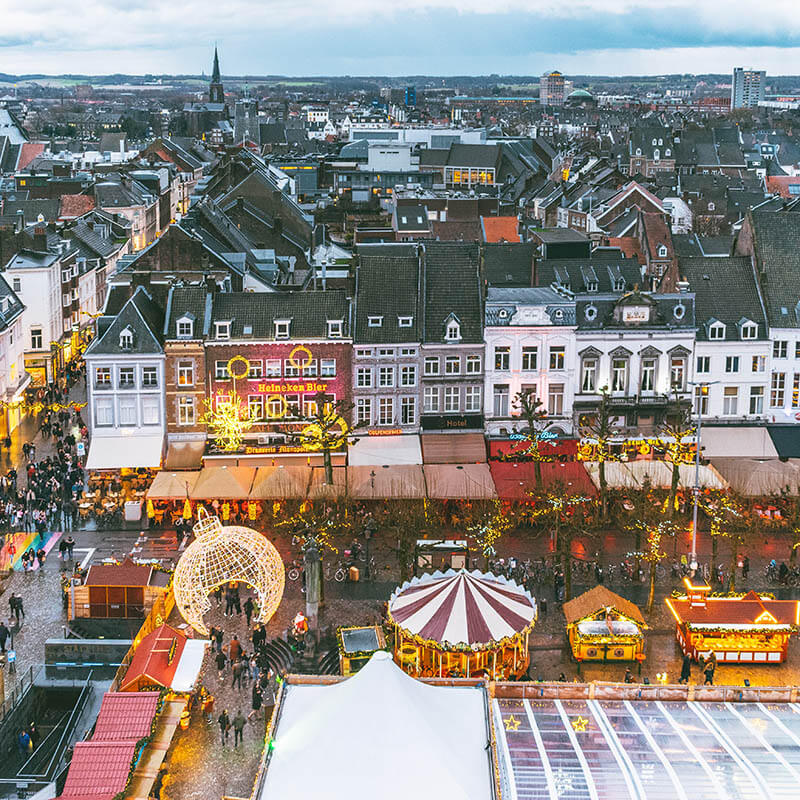 View of the Maastricht Christmas market seen from the ferris wheel at the Magical Maastricht market