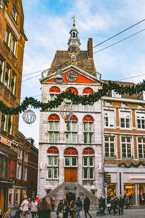 Beautiful historic building in Maastricht decorated for Christmas during the Magical Maastricht Christmas market.
