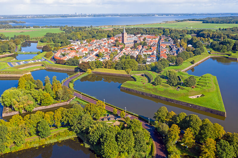 The beautiful Dutch city of Naarden seen from above